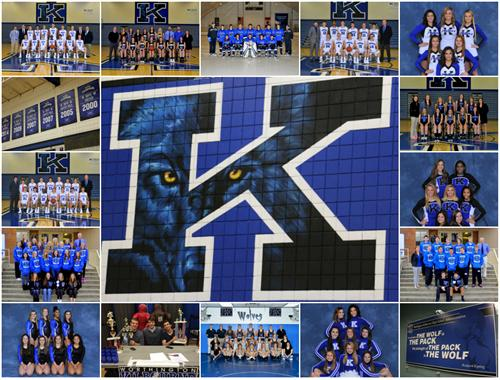 Collage of team photos from WKHS winter sports