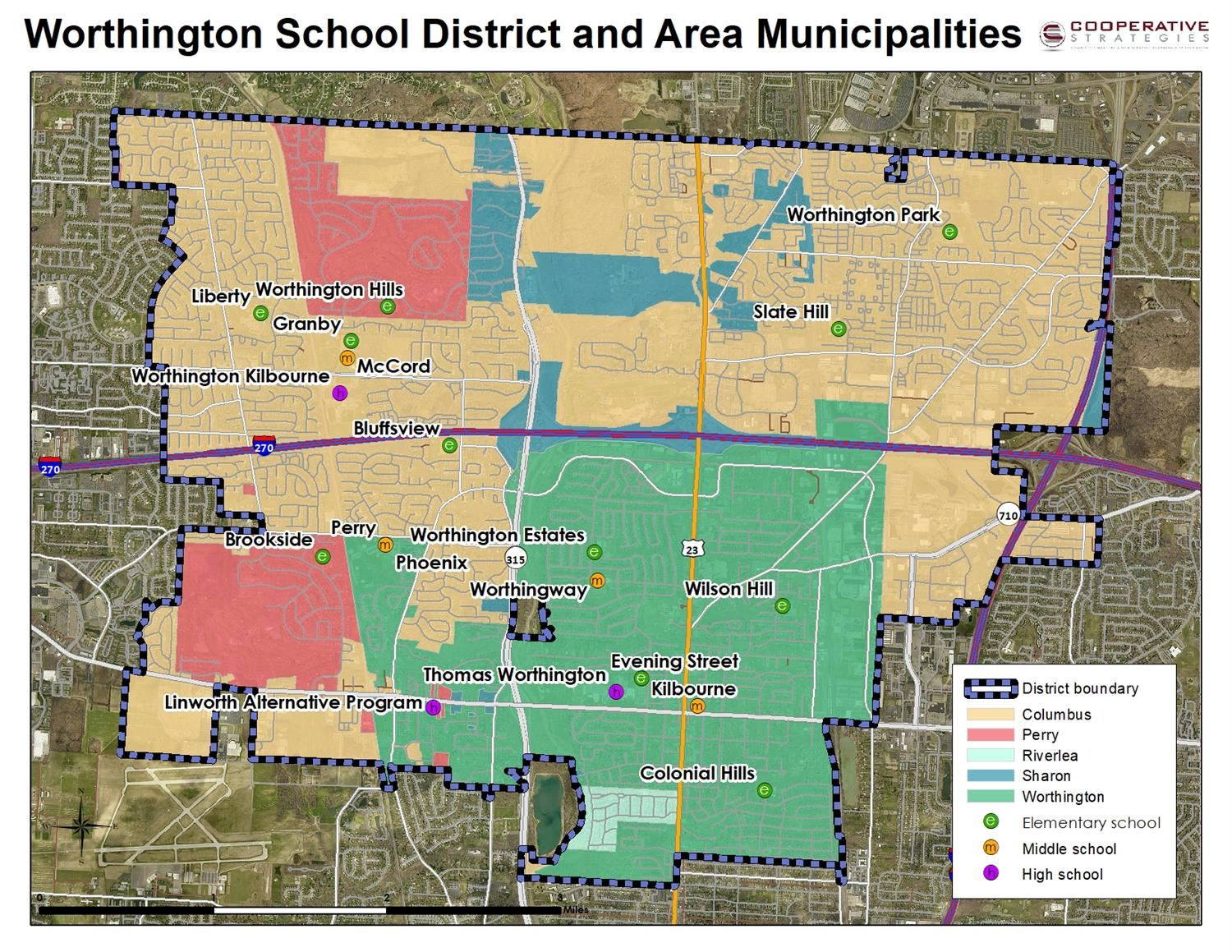 Map of Worthington School Boundaries