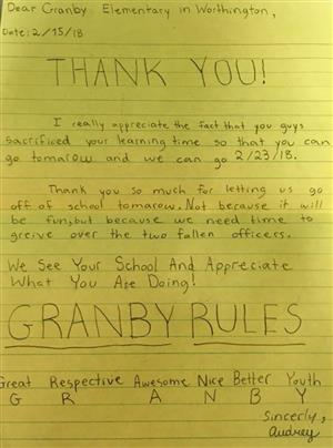 Granby Parents, Students & Staff help neighboring community