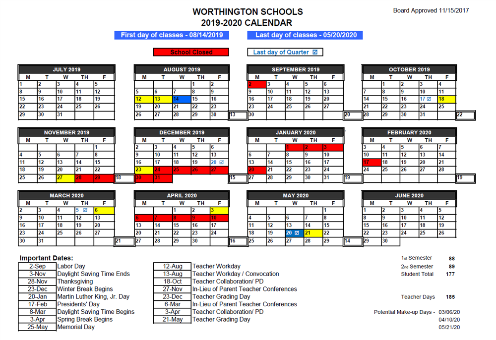 Ohio State Academic Calendar 2020 2019 2020 Worthington School Calendar approved by board of education
