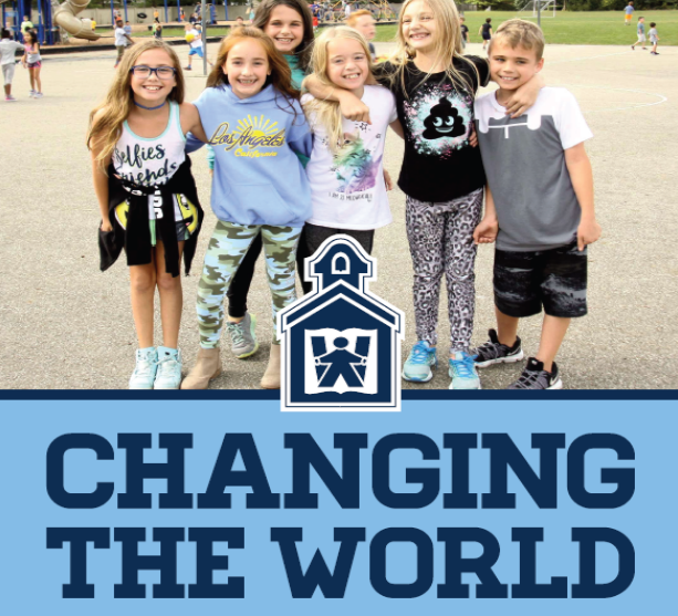 Children on playground with Change the World graphic