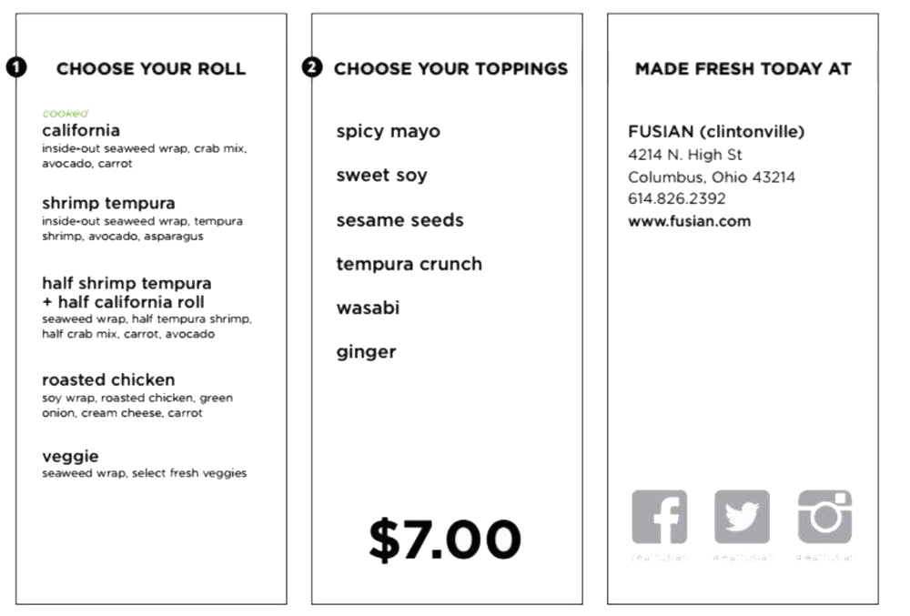 Sample Fusian Menu