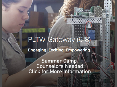 Gateway to Technology Image promoting the need for summer camp counselors from High School students