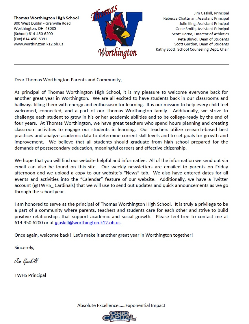 principal s corner principal s welcome back letter principal s welcome back letter welcome back twhs
