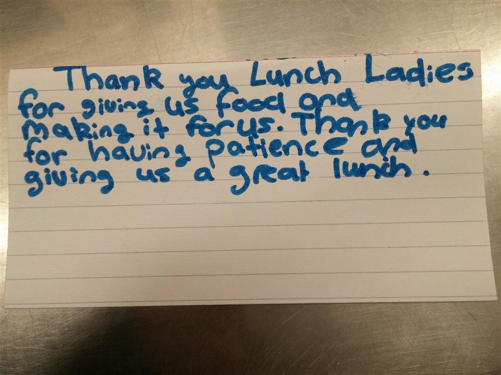 Thank you note sent to lunch ladies